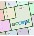 accept on computer keyboard key enter button vector image vector image