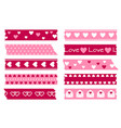 adhesive types with hearts valentines wedding vector image
