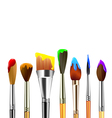 Artist paint brushes isolated on white background vector image vector image