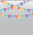 background of colored garlands festive flags and vector image