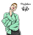 beautiful young woman in trousers sketch vector image vector image