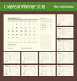 calendar planner design template for 2018 year vector image vector image