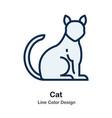 cat line color icon vector image vector image