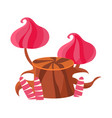 chocolate stump with pink mushrooms made of vector image vector image