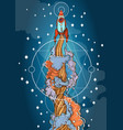 conceptual on the theme of space travel flying in vector image vector image