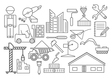 Construction and house repair icon set Thin line vector image