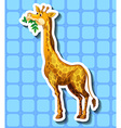 Cute giraffe chewing the leaves vector image