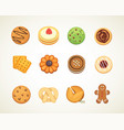 different cookie cakes top view sweet food vector image vector image