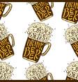 drink beer hand drawn lettering seamless pattern vector image vector image