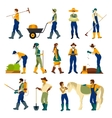 Farmers At Work Flat Icons Set vector image vector image