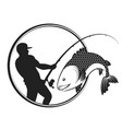 fish and fisherman with a fishing rod vector image vector image