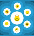 flat icon expression set of joy angel sad and vector image vector image