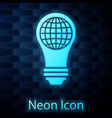 glowing neon light bulb with inside world globe vector image vector image