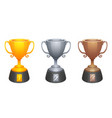 gold silver bronze cups trophy awards vector image vector image