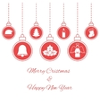 Hanging red baubles vector image vector image