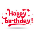 happy birthday in red and white vector image