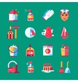 Housekeeping Cleaning Flat Icons Set vector image vector image