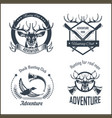 hunting club or hunt adventure logo templates set vector image