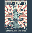 independence day poster with statue vector image vector image