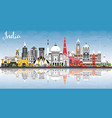 india city skyline with color buildings blue sky vector image vector image