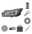 isolated object of auto and part icon set of auto vector image vector image