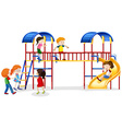 Many children playing at the playhouse vector image vector image