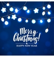 Merry Christmas and New Year Garland Light Design vector image vector image
