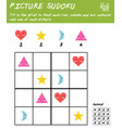 picture sudoku game with basic shapes logic vector image vector image