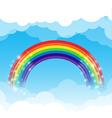 Rainbow cloud and sky background vector image vector image