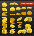 realistic gold coins darktransparent set vector image vector image