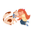 red hair cute girl is hugging domestic cat vector image vector image