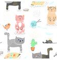 seamless baby pattern background with cute cats vector image vector image