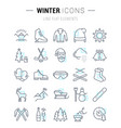 set flat line icons winter vector image vector image