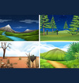 set nature scene vector image vector image