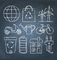 set of ecology icons in sketch style on chalkboard vector image