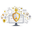 shield over computer monitor and set of icons vector image vector image