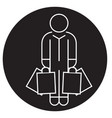 shopper man with bags black concept icon vector image