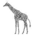 silhouette giraffe with messy straight lines vector image vector image