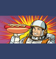 smiling male astronaut presents hot dog sausage vector image