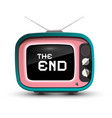 the end title on retro tv screen isolazed on vector image