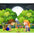 Two kids watching the growing plant vector image vector image