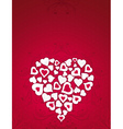 valentine card with big heart over red background vector image vector image