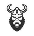 viking head in horned helmet design element for vector image
