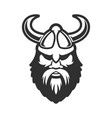 Viking head in horned helmet design element