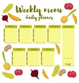 Weekly menu green daily planner vector image