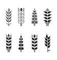 Wheat ear symbols for logo icon set leaves icons vector image vector image