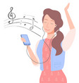 woman listening to music lady with smartphone vector image vector image