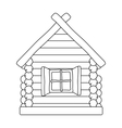 Wooden house icon in outline style isolated on vector image vector image