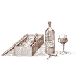 wine in package box for gift engraved vector image