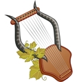 Ancient cittern with vine vector image